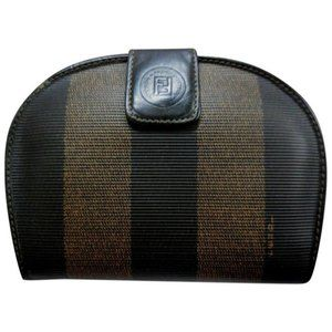 FENDI Brown Tobacco Thick Striped Coated Canvas